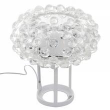 Italux Biurkowa LAMPKA stojąca LORNA MTE2021/1 stołowa LAMPA gabinetowa z kryształkami crystal biała przezroczysta