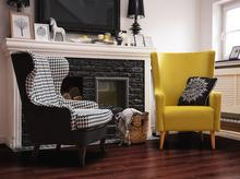 Beliani Fotel w pepitkę - fotel wypoczynkowy - do salonu - tapicerowany - MOLDE biało-czarny