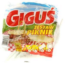 Piknik Giguś Zestaw noże + widelce + kubeczki + talerze 24 el.