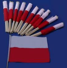 Flagi, choragiewki gładkie na patyku wymiary 14/10cm Polski oferta hurtowa