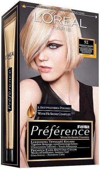 Loreal Feria Preference 92 Iridescent Blonde Bardzo jasny
