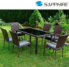 Zestaw mebli z technorattanu SANTOS - stół + 6 krzeseł // KUPUJ PROSTO OD PRODUCENTA