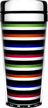 Sagaform Plastikowy kubek termiczny 0,4 l adventure kolorowe paski SF-5015836