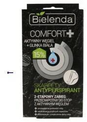 Bielenda Comfort+ U) skarpety antyperspirant 2-etapowy zabieg przeciwpotny do stóp z aktywnym węglem 2x10g