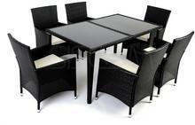 Komplet mebli z technorattanu, stół + 6 krzeseł