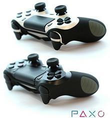 PAXO osłona silikonowa do kontrolera PS4, czarna, 2 sztuki, w zestawie z 4 nakładkami silikonowymi na analogi