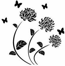 Szabloneria Szablon malarski flora 124 - Róża i motyle
