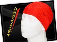 Aqua Speed Czepek do pływania na długie włosy BUBBLE_31_RED