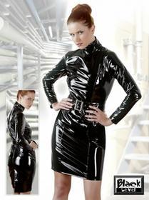 Black Level Sukienka winylowa z paskiem czarna XL 28504861050