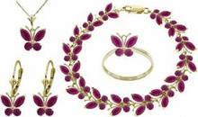 Galaxy Gold Products , Inc 2630 Komplet biżuterii z rubinów