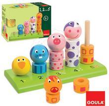 Goula Drewniana zabawka edukacyjna firmy Nauka rozpoznawania kolorów, cyfr i dopasowywania elementów. Układanka - Nauka liczenia i rozpoznawania zwierzątek - zabawki drewniane - GO 55233 GO 55233