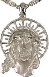 Tyfanit Srebrny medalion z wizerunkiem Jezusa A366a