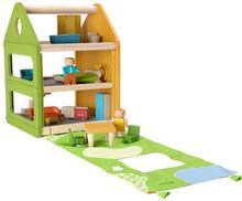 Plan Toys Drewniany DOMEK dla lalek z matą do zabawy - trzypiętrowy domek + lale