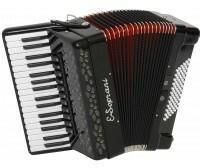 E.Soprani 744 KK 34/4/11 72/4/4 Musette akordeon czarny czerwony miech)