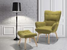 Beliani Fotel oliwkowy + pufa - fotel tapicerowany - krzeslo - VEJLE