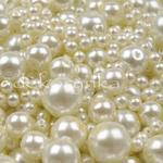 Perły woskowane kule MIX 25g per02B kremowe