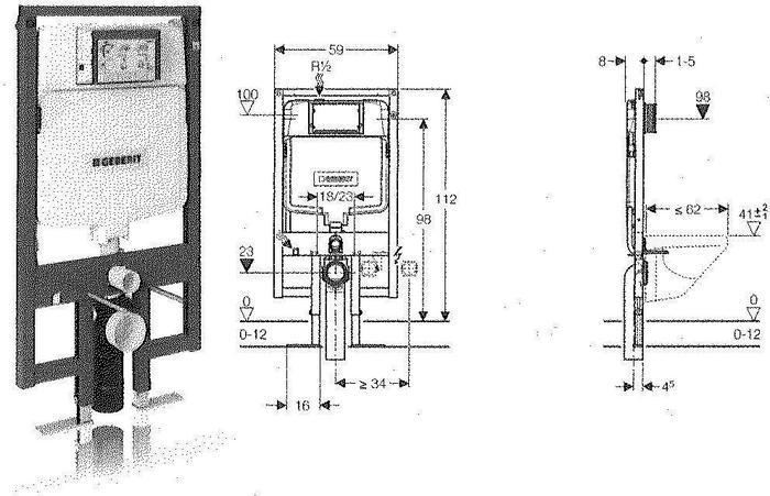 Geberit 111.726.00.1 - - DUOFIX SLIM 8 cm Stelaż WC podtynkowy, UP320, Sigma, H1