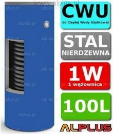 CHEŁCHOWSKI 100L 1-Wężownica Nierdzewka, 1W Zbiornik Zasobnik Wymiennik Bojler,