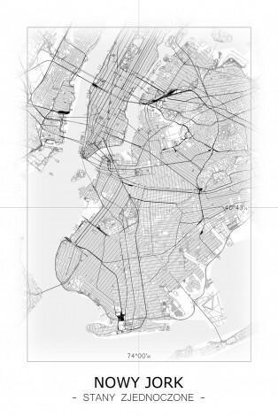 Nowy Jork - Czarno-biała mapa