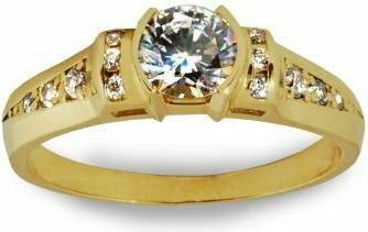 Rubicello złoto pierścionek z cyrkoniami - P151