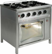 Egaz Trzon gastronomiczny gazowy 4-palnikowy z piekarnikiem gazowym, 900x900x850