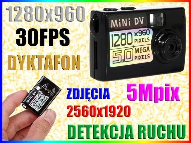 MINI UKRYTA KAMERA SZPIEGOWSKA HD 5Mpix DYKTAFON DETEKCJA RUCHU Easy_ID:1MR027