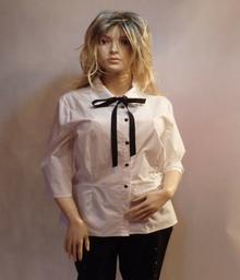 MaximoModa Elegancka biała bluzka z krawatką XXL BL0009