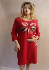 MaximoModa Elegancka sukienka z motywem kwiatowym czerwona XXL RO0020