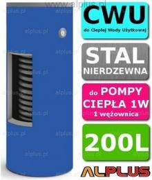 CHEŁCHOWSKI do Pompy Ciepła 200L 1W 1-wężownica, Nierdzewka Wymiennik Bojler Pod