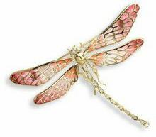 Nicole Barr (UK) Złota broszka - czerwona ważka z brylantami, złoto 18K
