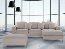Beliani Nowoczesna sofa z pufa w kolorze bezowym - kanapa tapicerowana - OSLO