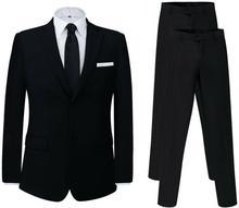 vidaXL Dwuczęściowy garnitur z dodatkowymi spodniami czarny rozm. 48