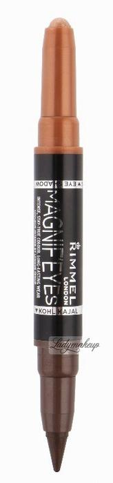 Rimmel MAGNIF'EYES DOUBLE ENDED SHADOW & LINER - Cień i eyeliner 2w1 - 002 - KISSED BY A ROSE GOLD RMMEDE-002 - KISSED BY A ROSE GOLD