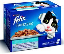 Purina Felix Fantastic karma dla kota 3x z tuńczykiem, 3x z łososiem, 3x z dorszem, 3x z płastugą w galaretce 12x100g