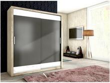 MalysMeble Modna szafa przesuwna 180x200x62cm MalysMebl VERA san remo/grafit mat + białe szkło MM-SZVERASANREMOGRAFIT