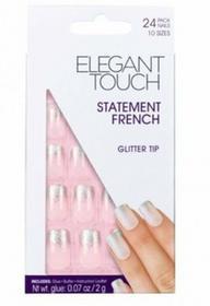 Elegant Touch Statement French - tipsy paznokcie z klejem Glitter Tip, 24szt. paz
