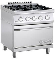 Bartscher 4-palnikowa kuchnia gazowa z piekarnikiem gazowym 2/1 GN
