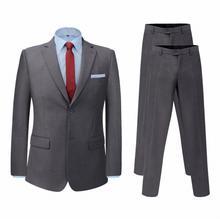 vidaXL Dwuczęściowy garnitur z dodatkowymi spodniami szary rozm. 48