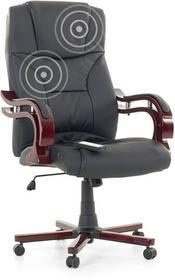 Beliani Fotel czarny - Fotel biurowy - Skórzane krzeslo z masazem - EMPEROR