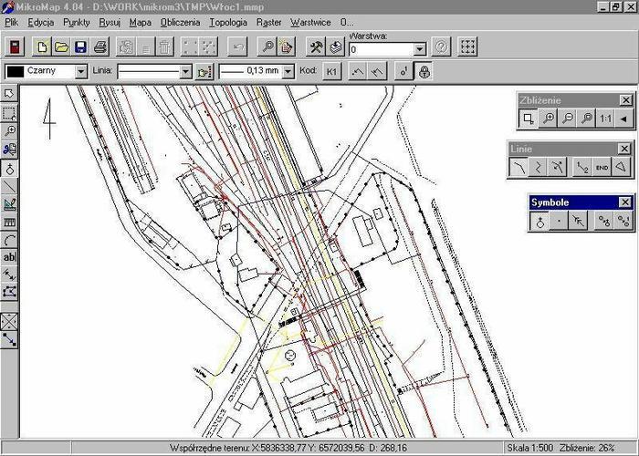 CODER MikroMap - Moduł Transformacja map pomiędzy układami WGS84,42, 65, 92, 2000 (tworzenie geodezyjnych map i szkiców)