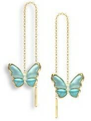Nicole Barr UK) Złote kolczyki z emalią i brylantami, złoto 18K
