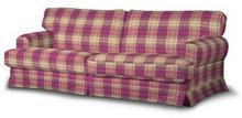 Dekoria Pokrowiec na sofę Ekeskog rozkładaną Mirella różowo-beżowa kratka