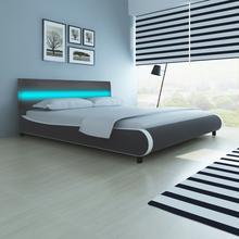 vidaXL Łóżko z oświetleniem LED w zagłówku + materac