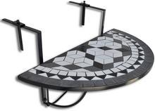 vidaXL Półokrągły stolik balkonowy, biało-czarna mozaika
