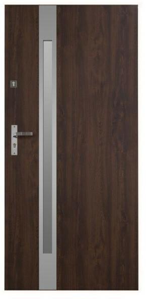 Drzwi wejściowe stalowe Jowisz Auriga Slim 90 prawe orzech