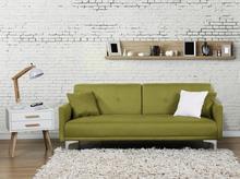 Beliani Sofa z funkcją spania zielona - kanapa rozkładana - wersalka - LUCAN zielony