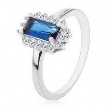 Biżuteria e-shop Rodowany pierścionek, srebro 925, prostokątna niebieska cyrkonia, bezbarwna cyrkoniowa oprawa
