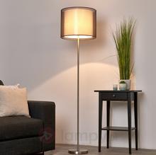 Lampenwelt Nica - lampa stojąca z brązowym abażurem