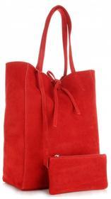Vera Pelle Modne Torebki Skórzane typu ShopperBag z Etui Zamsz Naturalny Wysokiej Jakości Czerwona (kolory) 601czer
