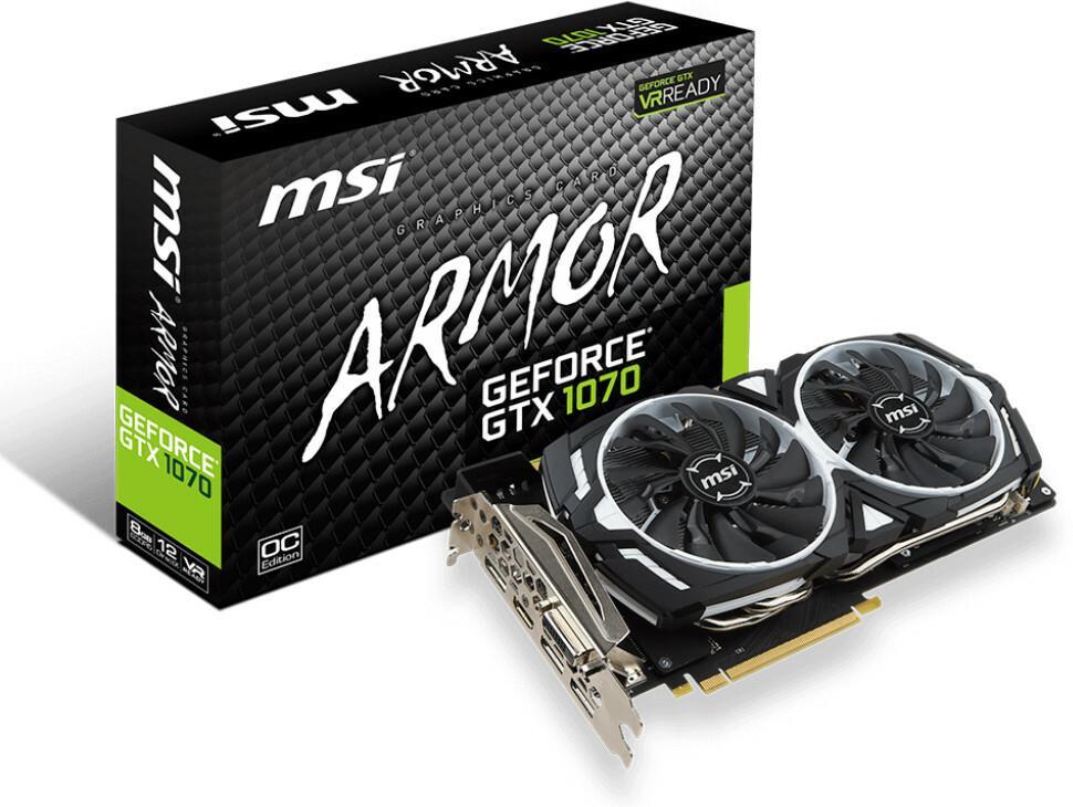 MSI GeForce GTX 1070 Armor 8G VR Ready